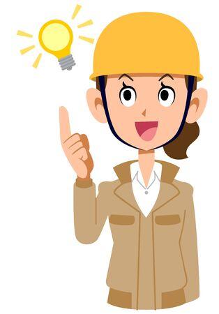 A woman wearing a helmet wearing a beige work clothes, who ideas flash Иллюстрация