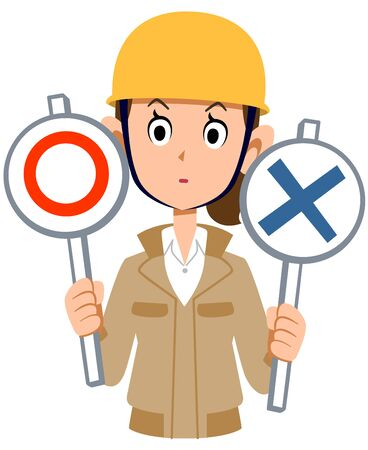 A woman wearing a helmet wearing a beige work clothes thinking about the correctness of the problem Stock Illustratie