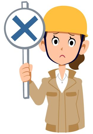 A woman wearing a helmet wearing a beige work clothes that gives an incorrect answer