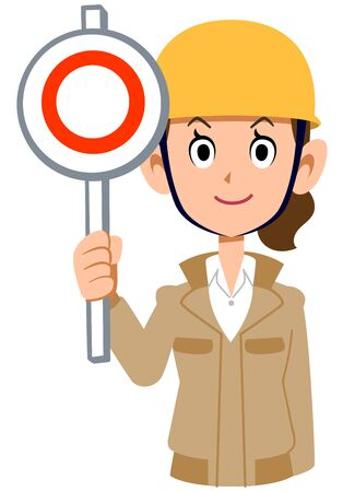 A woman wearing a helmet wearing a beige work clothes that gives a correct answer