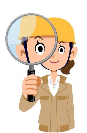 A woman wearing a helmet wearing a beige work clothes looking through a magnifying glass Иллюстрация