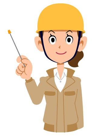 Woman wearing helmet wearing beige work clothes with pointing stick