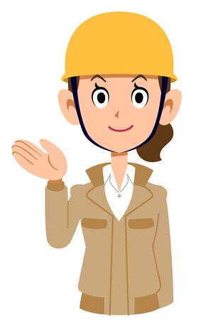 A woman wearing a beige workwear and a helmet guides