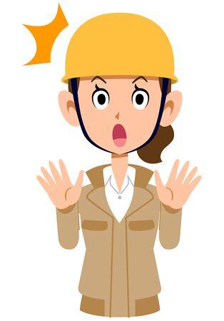 Surprisingly a woman wearing a beige workwear and a helmet Иллюстрация