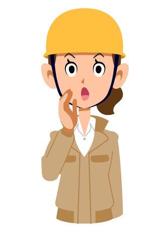 A woman wearing a helmet wearing a beige workwear calling for