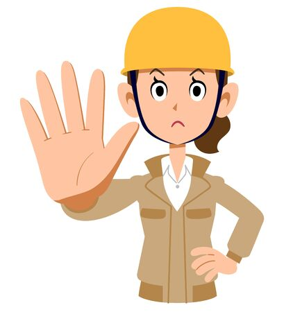 A woman wearing a helmet wearing a beige work clothes to stop