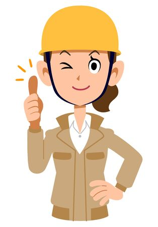A woman wearing a helmet wearing beige work clothes to thumb up