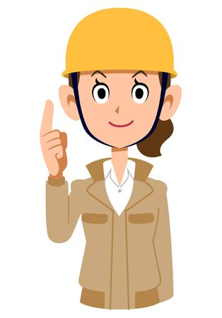 A woman wearing a helmet wearing a beige work clothes with her index finger up