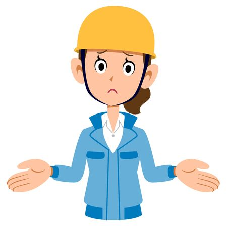 A woman in a blue workwear wearing a helmet, amazed Banque d'images - 147425765