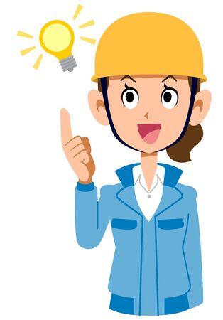 A woman in a blue workwear wearing a helmet full of ideas