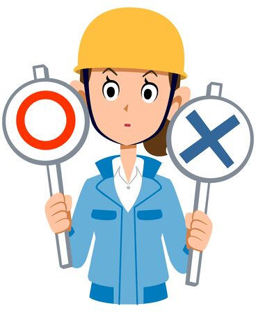 Woman in blue work clothes wearing a helmet thinking about the problem Stock Illustratie