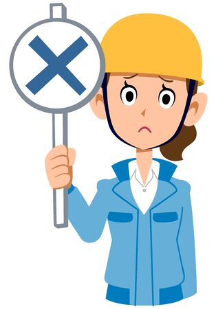 A woman in a blue workwear wearing a helmet giving an incorrect answer
