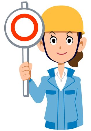 Woman in blue workwear wearing a helmet giving a correct answer