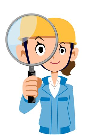 Woman in blue workwear wearing a helmet looking through a magnifying glass Иллюстрация