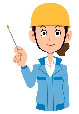 Woman in blue workwear wearing helmet with pointing stick