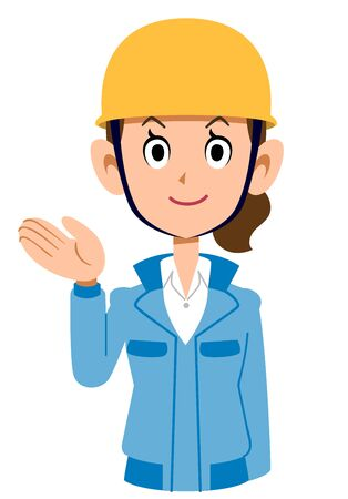 A woman in a blue workwear wearing a helmet to guide Ilustração