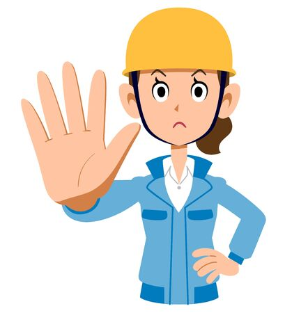 Woman in blue work clothes wearing a helmet to stop