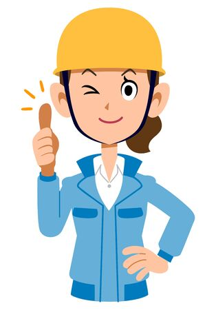 Woman in blue workwear wearing a helmet to thumb up