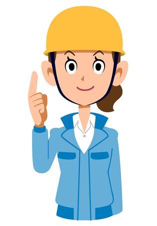 Woman in blue workwear wearing a helmet pointing up Иллюстрация