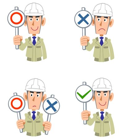 A man in a construction shop wearing a helmet with correct and incorrect answers