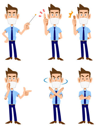 A man in a mask wearing a short-sleeved shirt and tie 6 different gestures and expressions