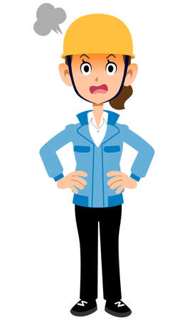 Woman in work clothes wearing an angry helmet Vectores