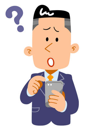 Questioning expression of a young businessman operating a smartphone