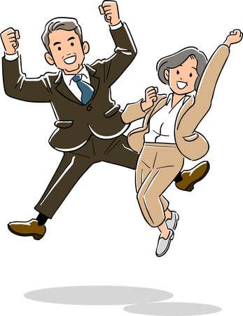 Veteran office worker men and women jumping
