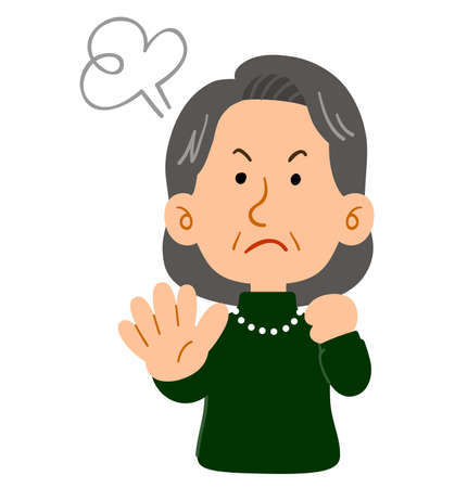 Upper body of senior woman refusing