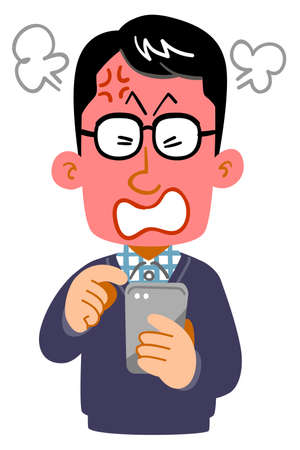 Anger expression of a man wearing glasses operating a smartphone