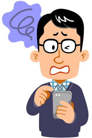 A disappointing facial expression of a man wearing glasses operating a smartphone