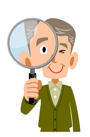 Upper body of a senior man looking through a magnifying glass