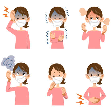 Symptoms of illness in women wearing masks Ilustração