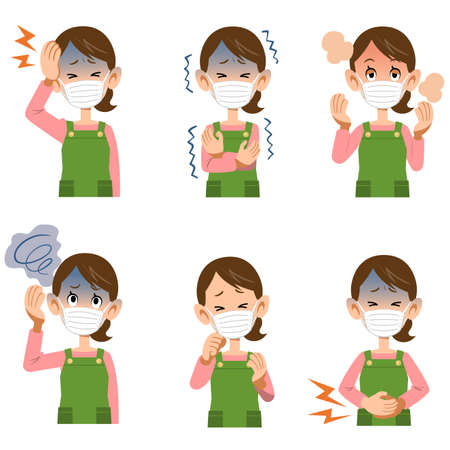 Symptoms of illness in women wearing masks and aprons