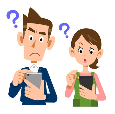 A young couple operating a smartphone with a questionable expression
