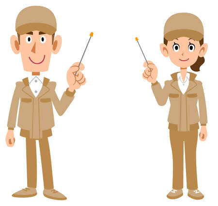 The whole body of man and woman in beige work clothes explained with a pointer