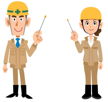 Whole body of man and woman wearing helmets wearing beige work clothes explained by pointers