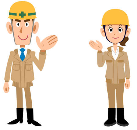 Whole body of man and woman wearing helmets wearing beige work clothes guided by hand Ilustración de vector