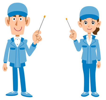 The whole body of man and woman in blue work clothes explained with a pointer