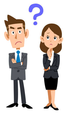 Male and female business people with doubts Vectores