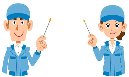 The upper body of man and woman in blue work clothes explained with a pointer