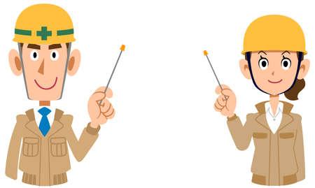 A man and a woman wearing a helmet wearing beige work clothes explained by a pointer Vektoros illusztráció