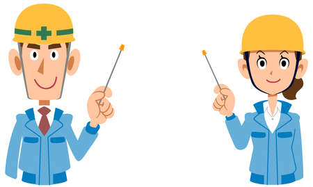A male and female upper body wearing a helmet wearing blue work clothes explained by a pointer Illusztráció