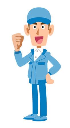 A man in blue work clothes who guts pose sideways 矢量图像