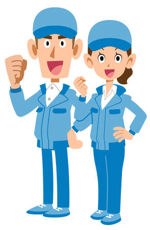 man and woman in blue work clothes that guts pose sideways Stock Illustratie
