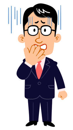 The face of a serious businessman wearing glasses turns pale _ whole body