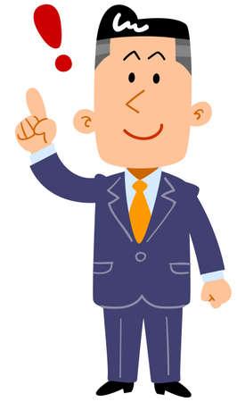 Businessman raising his index finger_whole body