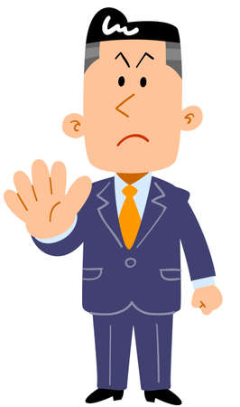 Young businessman showing the gesture of refusal _ whole body