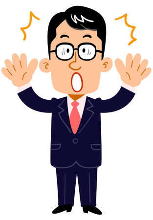 A serious businessman wearing glasses is surprised _ whole body