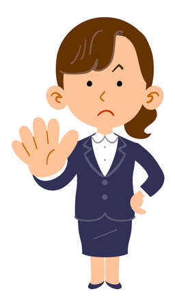 Business woman showing the gesture of refusal _ whole body